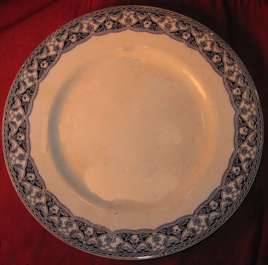 Antique Dinner Plate, Blue Empire
